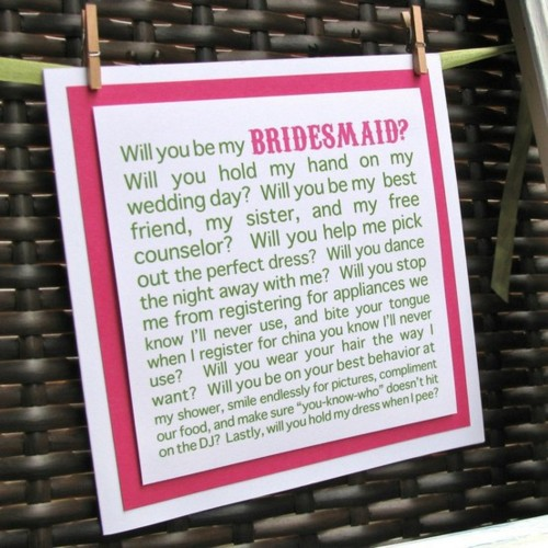 Funny Ways To Ask Bridesmaids To Be In Your Wedding: Maid Of Honor Proposal